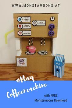 DIY craf Coffee machine for children's play kitchen with free printable download. playkichen kidscrafts craftsforkids coffeemachine; Spielküche, Kafeemaschine für Spielküche