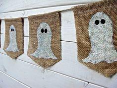 Halloween Burlap Ghost Banner