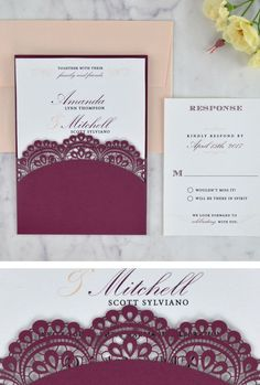 49 best cards pockets creations images on pinterest in 2018 laser cut wedding invitations in burgundy with elegant lace doily design filmwisefo