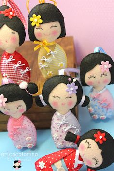 so cute. japanese girls in kimono doll from felt
