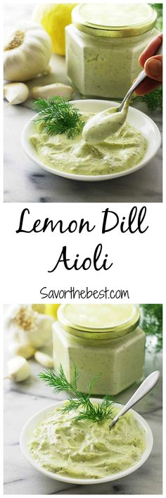 This amazing lemon-dill aioli sauce is smooth and creamy with a pronounced dill flavor that is the perfect accompaniment for fish. Dill Recipes, Sauce Recipes, Cooking Recipes, Chutney, Lemon Dill Sauce, Lemon Dill Salmon, Sriracha Aioli, Creamy Dill Sauce, Snacks