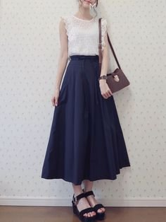 Long Skirt Fashion, Modest Fashion, Fashion Dresses, Fashion Moda, Cute Fashion, Womens Fashion, Fashion Trends, Korean Girl Fashion, Muslim Fashion