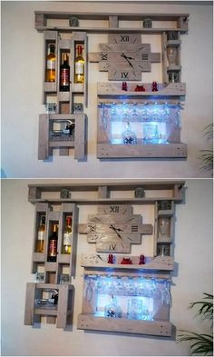 Why don't you think about using the old shipping pallets in the awesome creation of the wall clock with the coverage taste of the wine rack design? Right into this creation you will be finding one portion of the wine glass holder stand as well. See the image and get some idea!