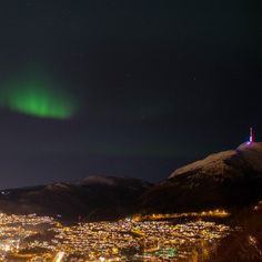 Northern lights over my beautiful Bergen - I saw several shooting stars as well <3  - photo by Steve Snoots