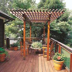 Add a pergola to provide a shield against strong rays while still letting you enjoy some sunlight. It can be oriented according to the seasons. | Photo: William P. Steele