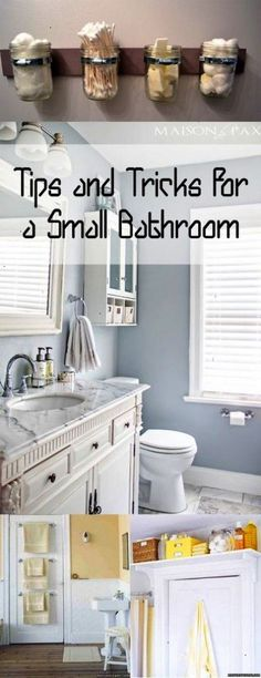 Tips and Tricks for a Small Bathroom. DIY DIY home projects home décor home dream home DIY kitchen DIY kitchen projects weekend DIY projects.