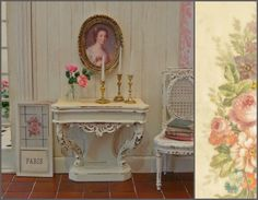 Regency Style Louis XV Carved Pier Console Table 1:12th Scale Miniature Dollhouse Furniture