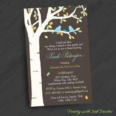 White Birch Tree with Lovebirds Invitations for Engagement/Anniversary/Wedding/Shower/Special Event  (Shown in Orange/Red/Yellow/Tan/Blue)
