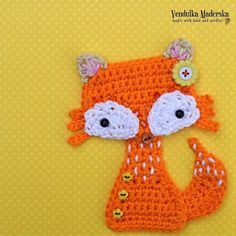 (4) Name: 'Crocheting : Fox applique