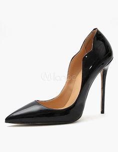 Black Patent Leather Pointed Toe Stiletto Heel High Heels milannoo.com