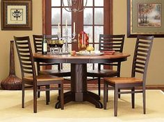 Interior:Piece Dining Set With Exotic Round Dining Table With White Carpet  And Hanging Lamp