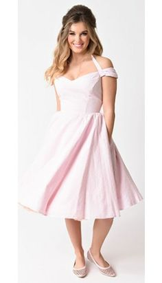 Hell Bunny 1950s Style Light Pink Swiss Dotted Eveline Swing Dress