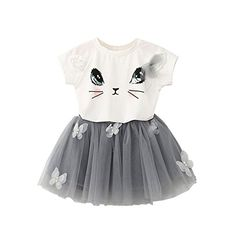 BOBORA Toddler Girls 2Pcs Set Lovely Cat Short Sleeve Butterfly Tutu Dress >>> You can find more details by visiting the image link. (This is an affiliate link) #BabyGirlDresses