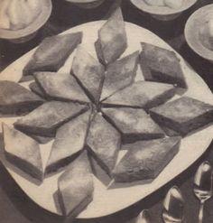 Cut a sheet cake into diamond shapes.