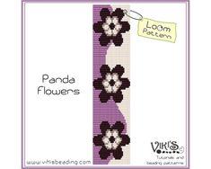 Loom Bracelet Pattern: Panda Flowers - for cuff bracelet - INSTANT DOWNLOAD pdf - Multibuy savings with coupon codes - bl138