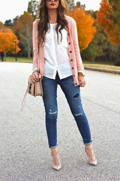 Closet Favorites: Blush Pink Cardigan, Everlane Pocket Blouse, Rebecca Minkoff Bowery Bag, Destroyed Denim + Valentino Rockstuds on For All Things Lovely! Trend Fashion, Look Fashion, Autumn Fashion, Womens Fashion, Fashion Ideas, Ladies Fashion, Work Casual, Casual Chic, Casual Looks