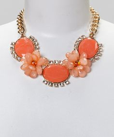 Another great find on #zulily! Sorta Southern Boutique Coral Flower Bib Necklace by Sorta Southern Boutique #zulilyfinds
