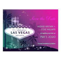 Unique Las Vegas Strip Wedding Save the Date Postcard