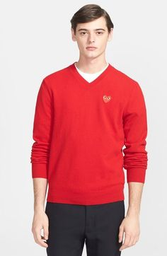 8a0f2c0b90d5 Men s Comme des Garcons  Play  Wool V-Neck Sweater with Heart Applique