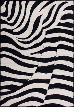 Zebra Black Animal Print Rug