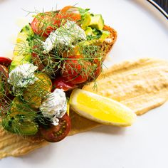 Persian feta, tomato, miso hummus, lime and sesame emulsion.  Located at Pinkie Cafe in Ivanhoe, Victoria, Australia.   Check out our Instagram page via the link below, we #pinkiepromise you won't regret it. Victoria Australia, Avocado Toast, Hummus, Feta, Persian, Lime, Photo And Video, Breakfast, Check
