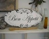 LA TOILETTE Shabby Cottage Signs French Chippy Chic Vintage Inspired 22 x 8. $39.95, via Etsy.