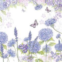 Purple Wildflowers Decoupage Napkin