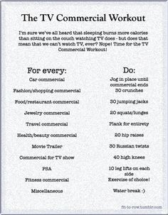Nice compromise :P We watch TV, we do so without the aid of TiVo and we do this... Haha... Nice. TV Commercial Workout