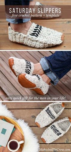 So cool! These modern adult crochet slippers come are perfect for men and women and make a great Father's Day, Mother's Day, Christmas or birthday gift idea! Get the free pattern and leather sole template and watch the video tutorial on Make and Do Crew's site!
