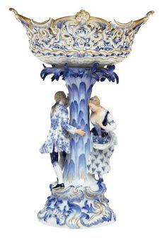 """In the """"Blue Onion"""" pattern with pierced  oval basket and supported by a flowering palm tree with a dancing couple in 18th century dress, on a molded gilt-highlighted rocaille and floral spray base."""