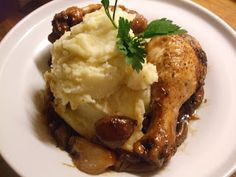 Braised chicken legs with bacon and onion - adapted from 'Bryn's Kitchen' by Bryn Williams.