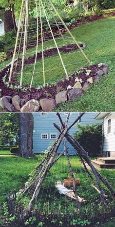 Children will surely be surprised how bean plants climb up the teepee structure. - 15 DIY Living Garden Structures You Will Admire – Children will surely be surprised how bean plants climb up the teepee structure. Garden Trellis, Garden Cottage, Vegetable Garden, Farm Gardens, Outdoor Gardens, Bean Plant, Sunflower Garden, Sunflower House, Garden Structures