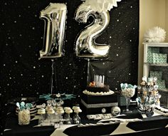Create your perfect party with various decorations like the picture below!Choose from some of plain and themed birthday party decorations including banners, bunting, paper decorations, pom poms,baloon and more. Birthday Party For Teens, 12th Birthday, Halloween Birthday, Birthday Party Decorations, Girl Birthday, Disco Party, Star Wars Party, Decoration Table, Holidays And Events