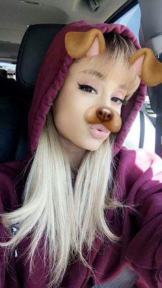 Ariana Grande doing the dog filter Ariana Grande Fotos, Bae, Ariana Grande Wallpaper, Dangerous Woman, Role Models, Moonlight, My Idol, Celebs, Actresses