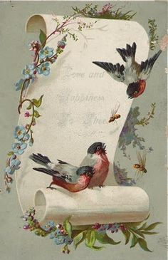 Postcard Accented with Birds Decoupage Vintage, Decoupage Paper, Vintage Ephemera, Vintage Paper, Vintage Postcards, Images Vintage, Vintage Pictures, Vintage Prints, Vintage Valentines