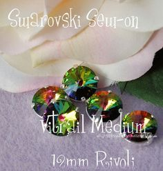 Vitrail Medium Rivoli Sew On - Swarovski Crystal 14mm 1122 in a SP 4-hole Prong Setting - Wire Jewelry Supply - Component