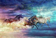Herd Of Horses In Pastel Digital Art by Lilia D