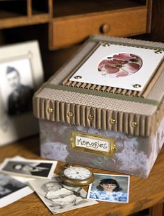 Memory Box Organize your treasured photos with a designer-style box that doubles as a handsome home accessory. Birthday Box, 1st Birthday Parties, Birthday Wishes, Birthday Ideas, Photo Memories, Time Capsule, Childhood Memories, First Birthdays, Decorative Boxes