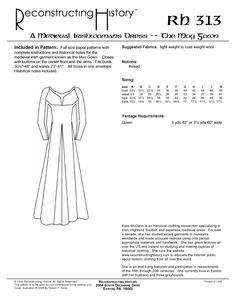 The Moy Gown  ~  In this illustration you can more easily see the shapes and details of the gown and see why the woman of the era would favor this style for everyday life.  By Kass McGann, (a clothing researcher, specializing in Irish, Highland Scottish, & Japanese medieval dress. Lecturer and webmaster of www.ReconstructingHistory.com to educate the Internet public about historic clothing from all over the world).