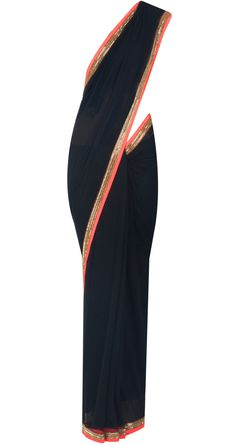 Black sari with neon orange and gold border available only at Pernia's Pop-Up Shop.
