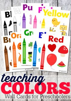 These full page color cards make working on colors with your toddler super easy and a ton of fun! Just hang them up on the wall and explore! Learning Colors for Toddlers Preschool Printables, Preschool Classroom, Preschool Learning, Fun Learning, Preschool Activities, Free Printables, Toddler Classroom, Preschool Letters, Kindergarten Worksheets