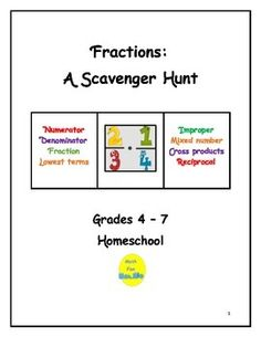 This scavenger hunt for fractions requires students to locate fractions in 24 different places, such as cookbooks, newspapers, cereal boxes, measuring spoons and cups, to name a few.  Supplemental, alternate, and optional activities are listed, as well as an evaluation.