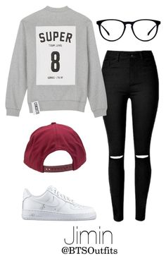 """""""Imitating Him at a Fansign: Jimin"""" by btsoutfits ❤ liked on Polyvore featuring Studio Concrete, NIKE and Brixton"""