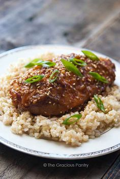 Clean Eating Slow Cooker Honey Sesame Chicken | The Gracious Pantry Sub Cauli-Rice for brown rice