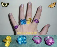 Anillos de alambre de aluminio artesanales . Handmade wire rings