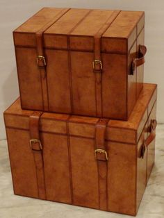 Real Leather Trunk Set of 3 Boxes