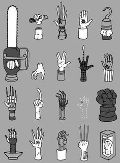 Sci-Fi movie hands. My favorite is the one in the bottom righthand corner!