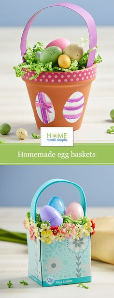 How to make festive egg baskets from materials you already have around the house, like a tissue box or terracotta pot. Great kid-friendly craft or family activity! Outdoor Garden Decor, Garden Decor Items, Garden Crafts, Landscape Design, Garden Design, Egg Basket, Baskets, Colorful Plants, Small Backyard Landscaping