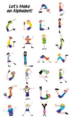 alphabet yoga for kids * alphabet yoga for kids + alphabet yoga for kids free printable + alphabet yoga for kids gross motor + alphabet yoga for kids letters + alphabet yoga poses for kids + kids alphabet yoga Poses Yoga Enfants, Kids Yoga Poses, Yoga For Kids, Exercise For Kids, Posters Escolares, Abc Poster, Alphabet Activities, Preschool Activities, Childrens Yoga