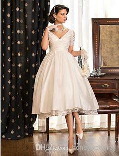 A-line Princess V-neck Tea-length Taffeta Wedding Dress DH7336 A-Line Wedding Dresses | Buy Wholesale On Line Direct from China